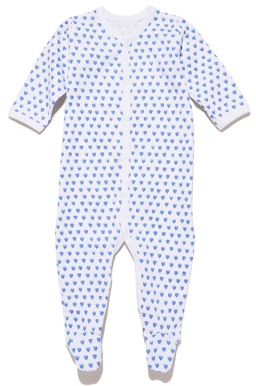 Infants Snap Pajama Suit Blue Hearts