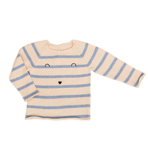 Stripe Face Sweater / Blue