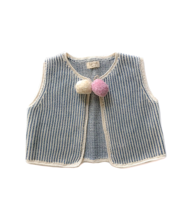 100% Pima Cotton Baby Clothes - Girls Pom Pom Vest
