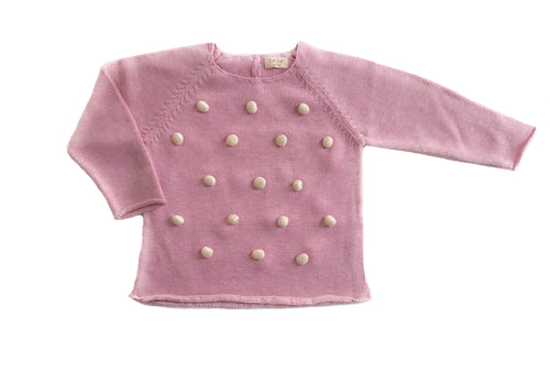 100% Pima Cotton Baby Clothes - Girls Pom Pom Sweater