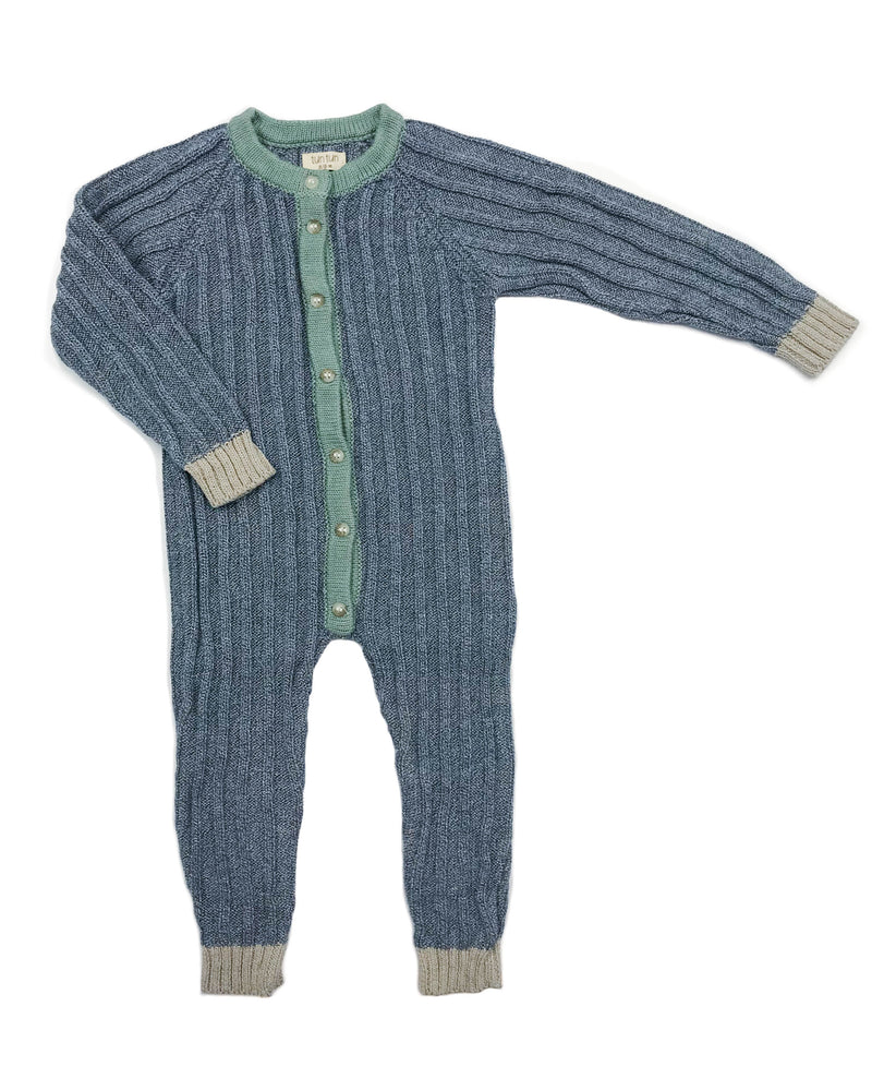 100% Pima Cotton Baby Clothes - Boys Knit Playsuit