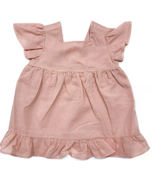 Baby Girls Flutter Sleeve Dress - Pink