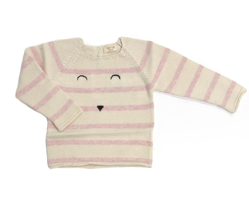 Stripe Face Sweater / Pink