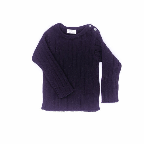 Solid Rib Sweater / Navy