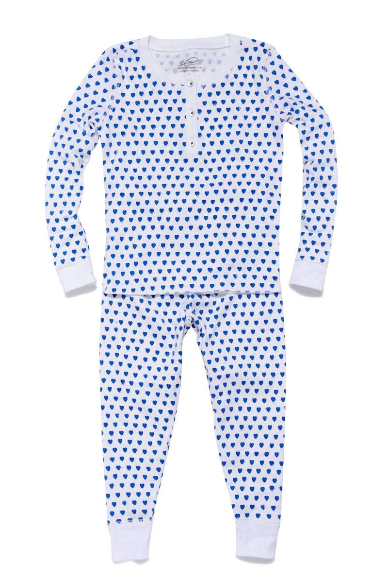 Kids Pajama Set Blue Hearts