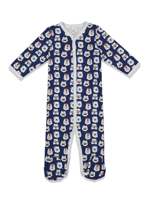Infant Bearry Holidays Footie Pajamas /  Blue