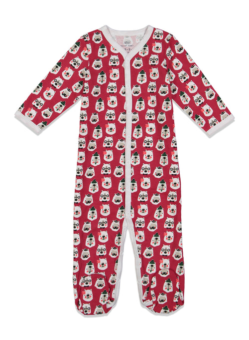 Infant Bearry Holidays Footie Pajamas /  Red