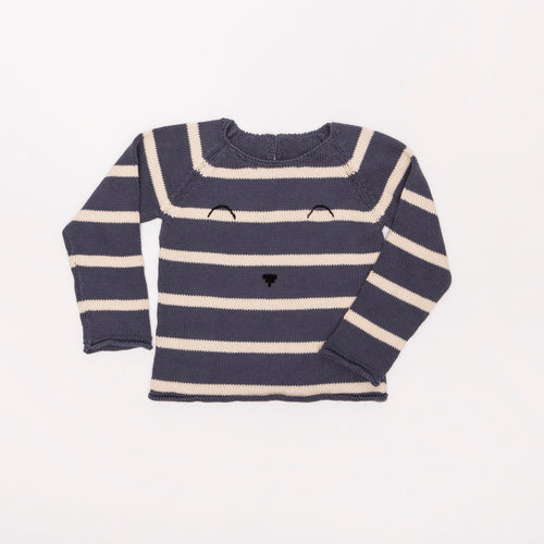 Stripe Face Sweater / Navy