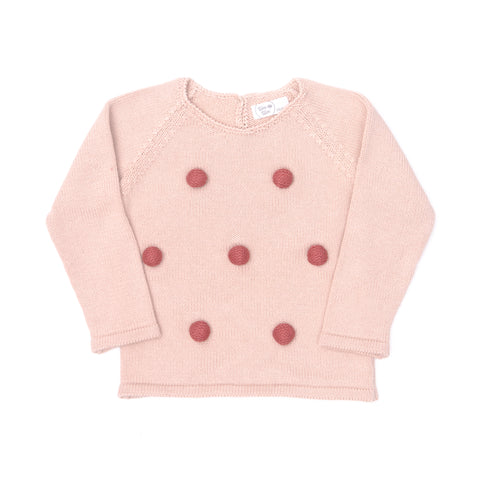 Knitted Pompom Sweater, Pink/Burgundy