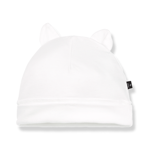 Leo Beanie with Ears / White