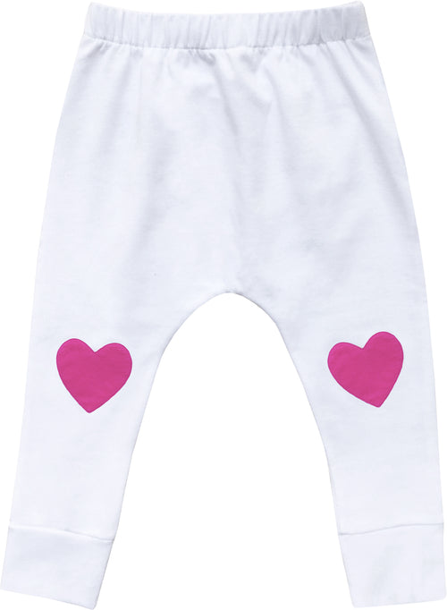 Baby Girls Heart Patch Pants / Pink