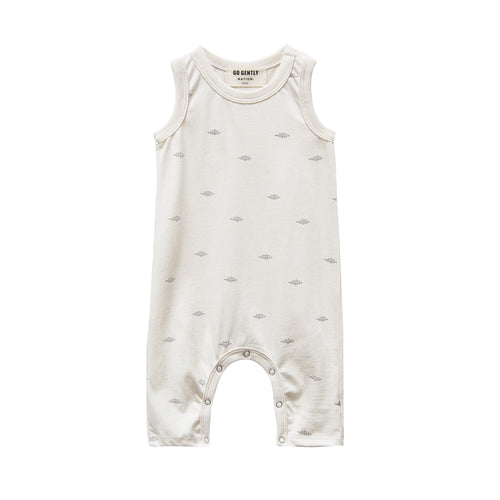Jersey Long Romper, Natural Dot