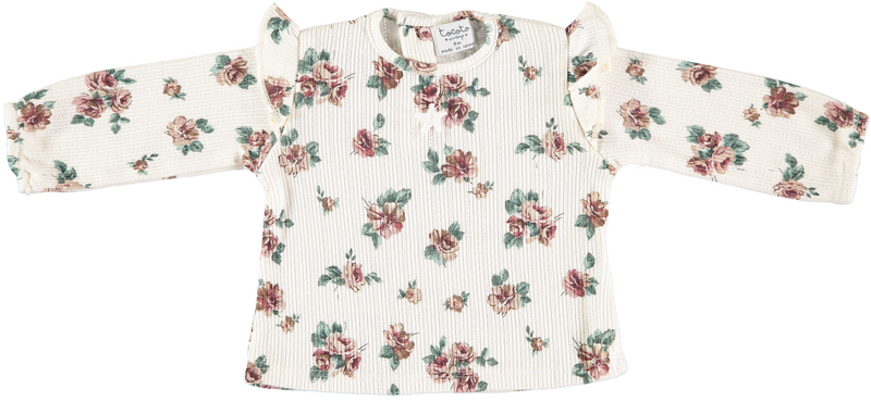 Flower Print Ribbed Long Sleeve Shirt