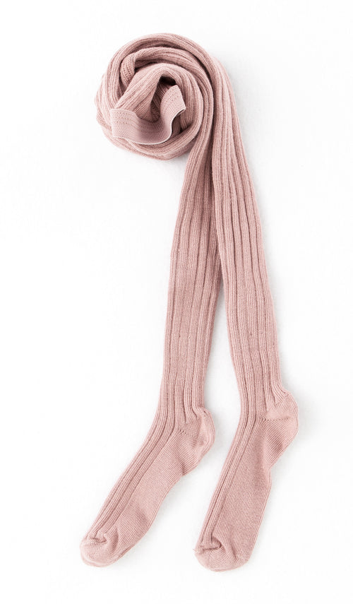 Ribbed Woolen Tights / Pink