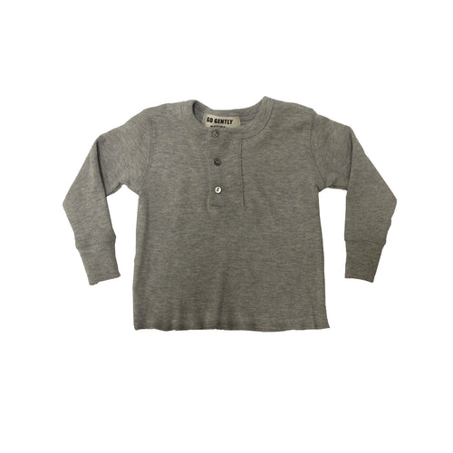 Wide Placket Henley / Heather Grey