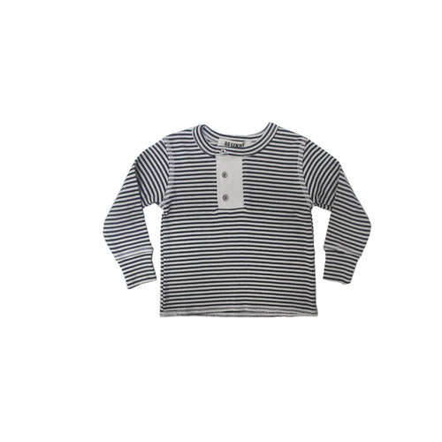 Wide Placket Henley / Navy Stripe