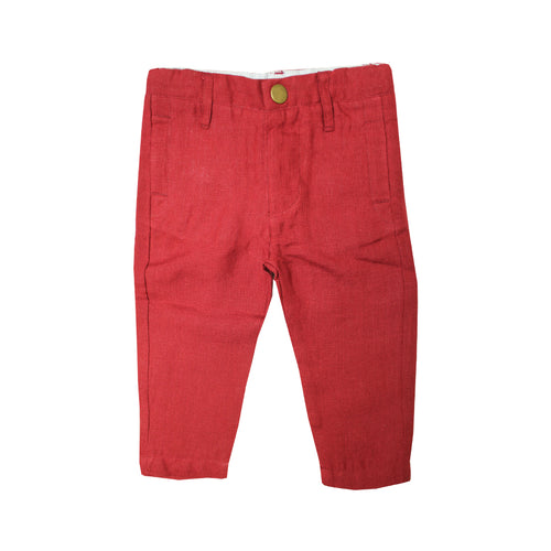Baby Boys Red Linen Pants - La Petite Collection