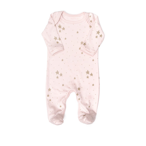 Stars Footie, Pink/Gold