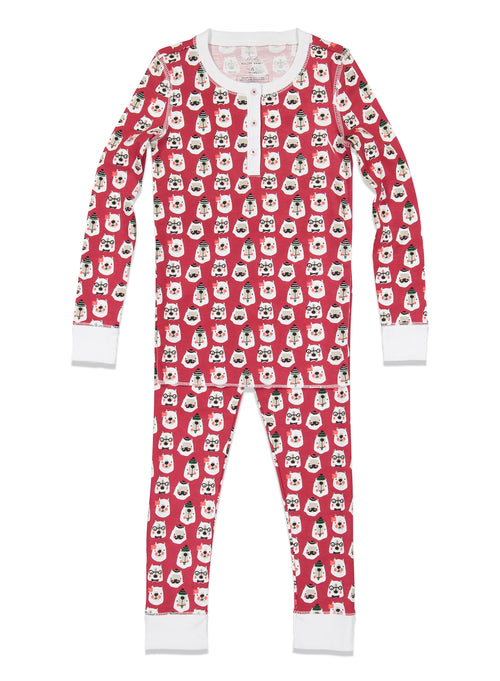 Kids Bearry Holidays Pajamas / Red