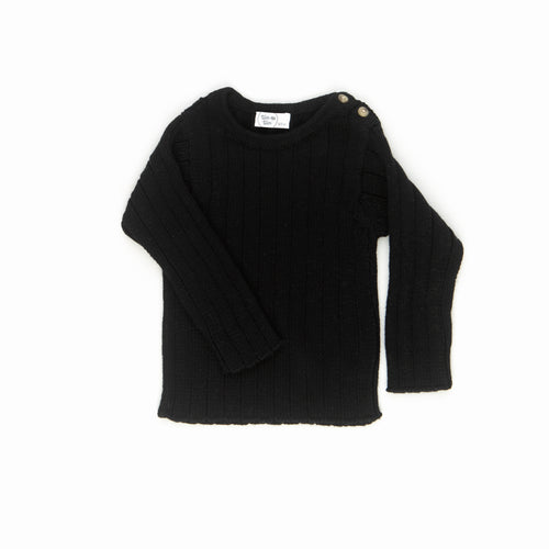 Solid Rib Sweater / Black