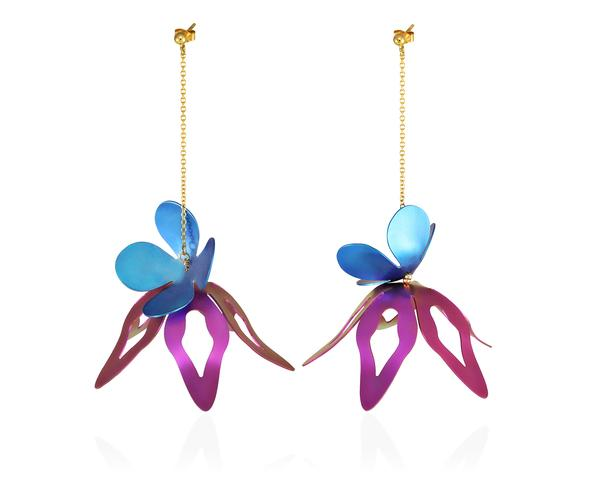 Chain earrings with blue & purple azalea flowers made of titanium, hanging from a lightweight golden chain.