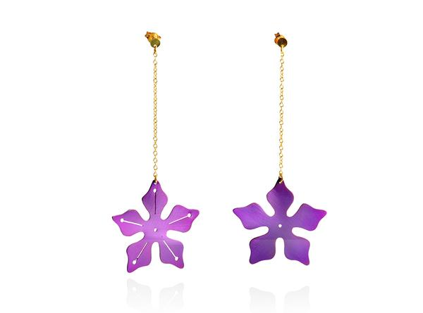 Long chain earrings with deep purple titanium star flowers and 14ct gold chain.