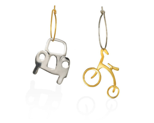 Hoop sterling silver earrings of a car on it's natural silver colour  and a bike in bright  gold-plated silver