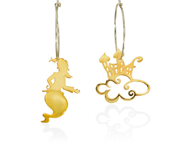 Hoop gold-plated silver earrings appearring  a Genie  beside an oriental city that flies up in the  sky. Magic, or just faith to the dream?