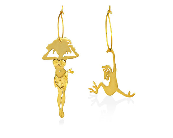 Long gold plated sterling silver. Jane of Tarzan happy in her jungle outfit beside loved Cheetah