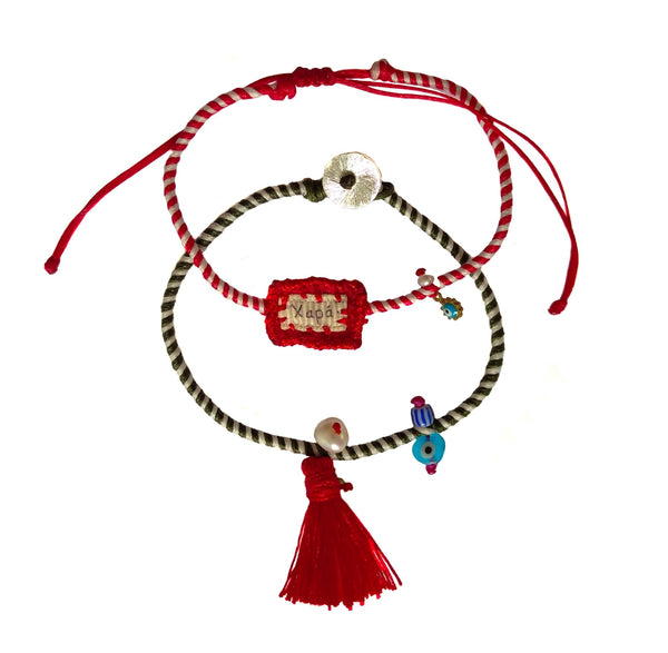 Handmade charm bracelets silk, fabric aand pearls, in red shades