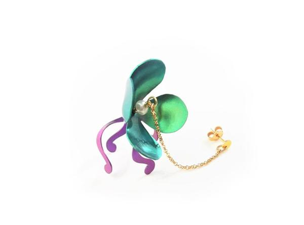 Long chain earrings with gold chain and titanium water lily flower in green and purple.