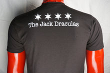 "Jack Draculas T-shirt. ""Go Suck Yourself/Chicago Fangs"" design by Timothy O'Connell. Rear view showing white logo text beneath four Chicago stars on a red mannequin."