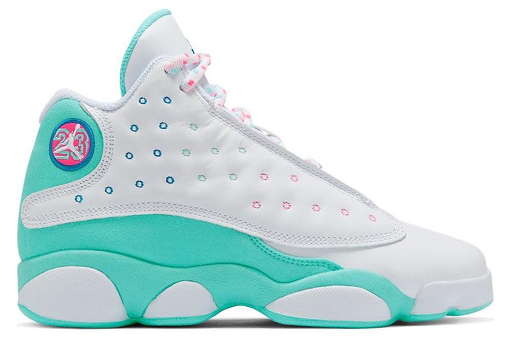 AIR JORDAN 13 RETRO WHITE SOAR GREEN PINK (GS)