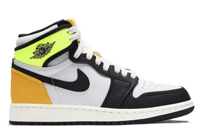 AIR JORDAN 1 RETRO HIGH WHITE BLACK VOLT UNIVERSITY GOLD (GS)