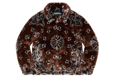 SUPREME BANDANA FAUX FUR BOMBER JACKET BROWN