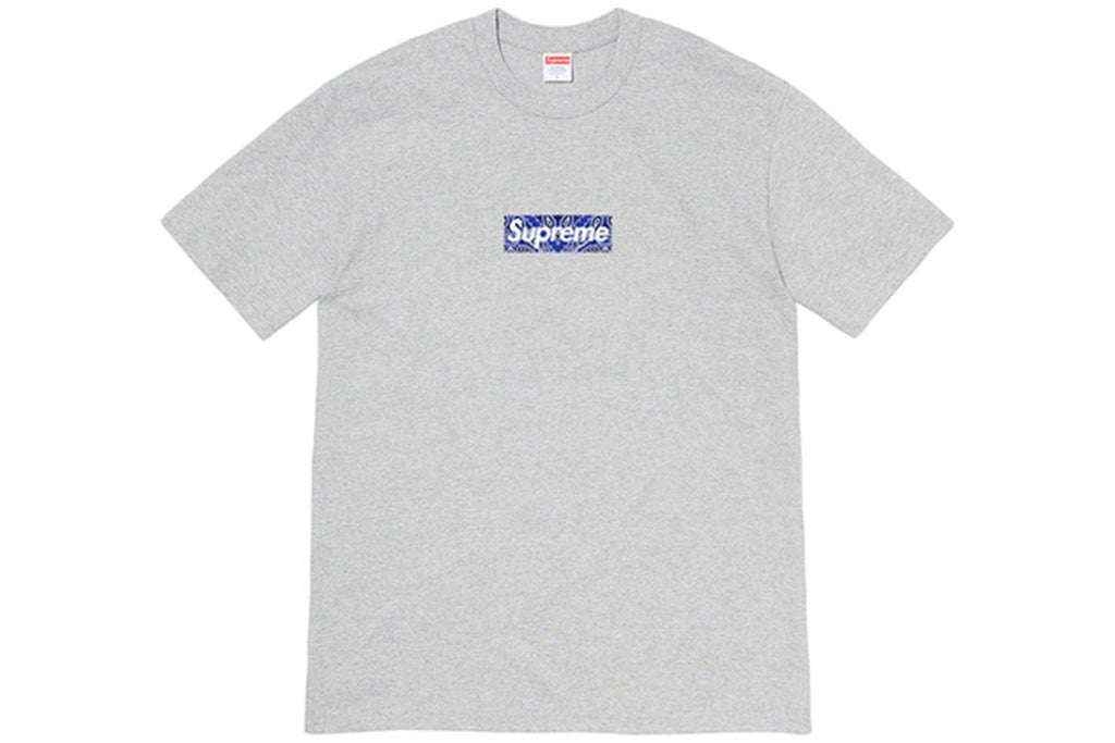 SUPREME BANDANA BOX LOGO TEE HEATHER GREY