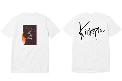 KICKPIN BURNING LOGO TEE WHITE