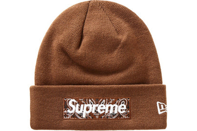 SUPREME NEW ERA BANDANA BOX LOGO BEANIE DARK BROWN