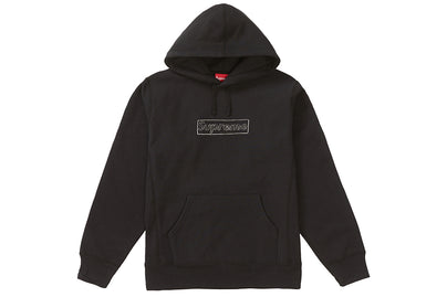 SUPREME KAWS CHALK LOGO HOODED SWEATSHIRT BLACK
