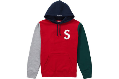 SUPREME S LOGO COLORBLOCKED HOODIE RED