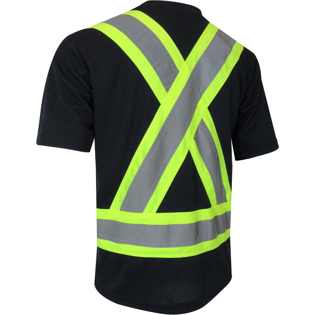 SHORT SLEEVE T-SHIRT WITH REFLECTIVE STRIPES - Black Safety Pearl