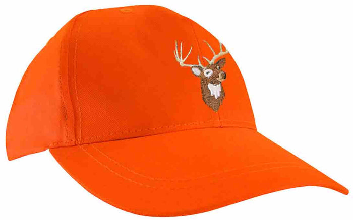 Fluorescent orange cap with deer embroidery