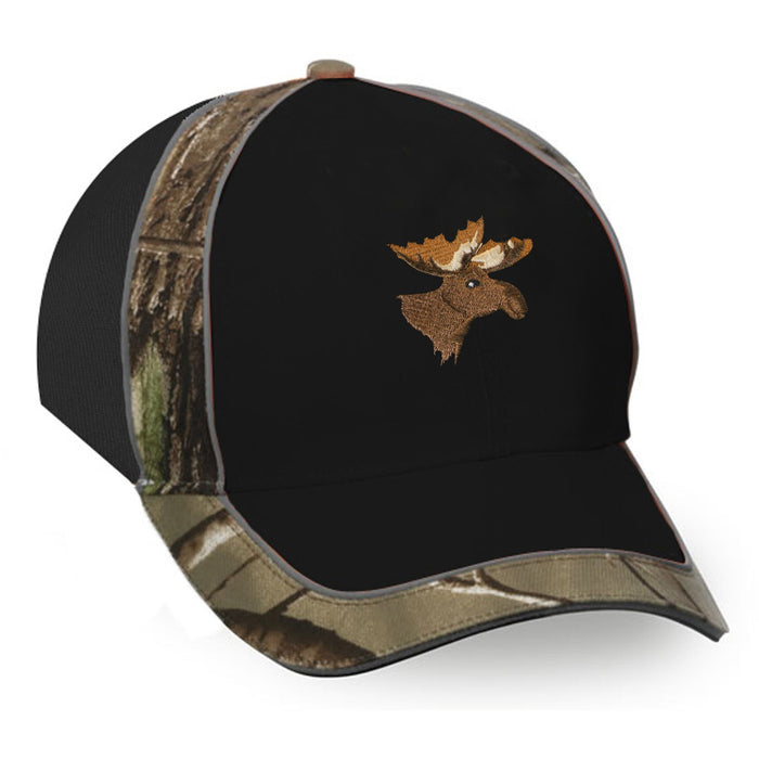 Cap with camo trimming and moose or deer embroidery