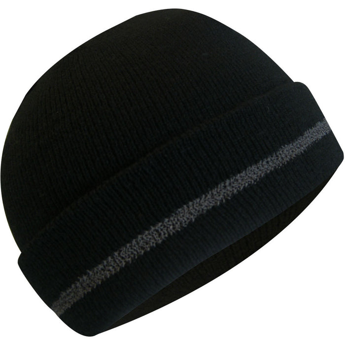 Thermakeeper lined tuque with reflective stripe - Black Safety Pearl