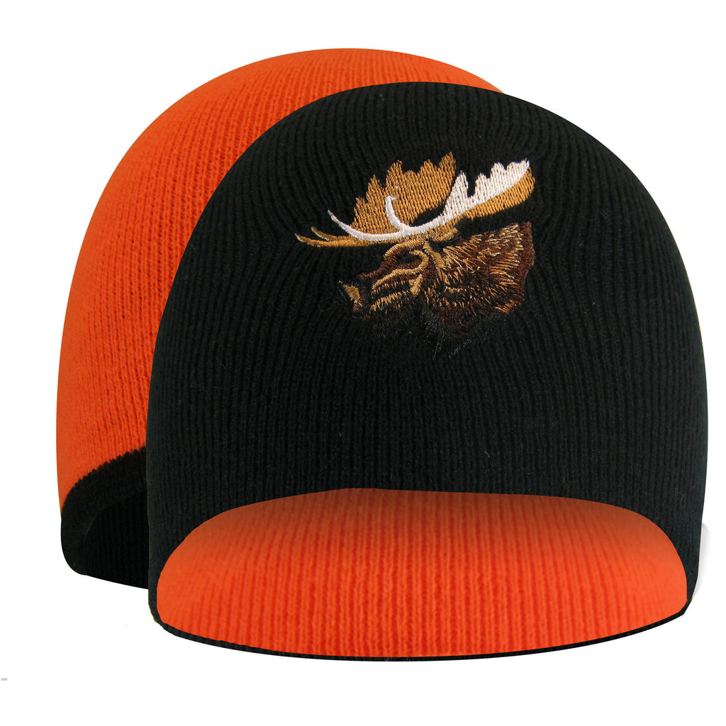 TUQUE RÉVERSIBLE ORANGE AVEC BRODERIE D'ANIMAL - Black Safety Pearl