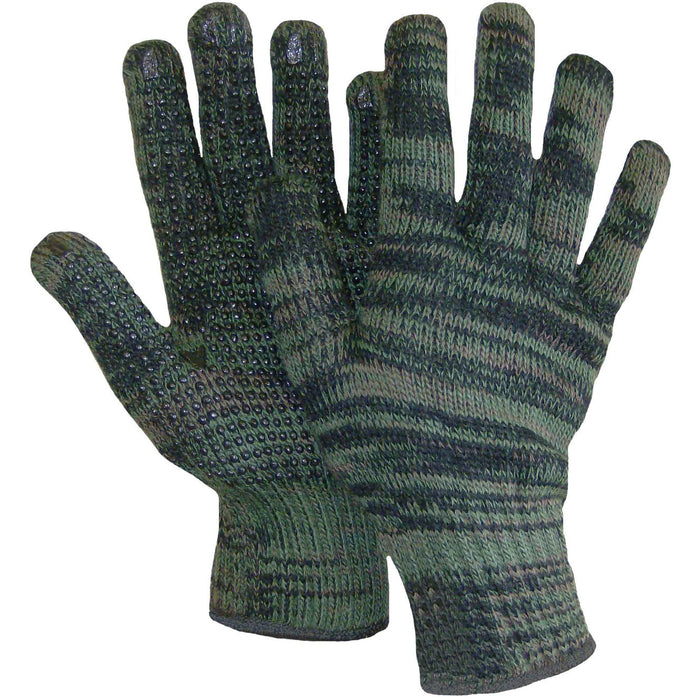 GANT DE TRICOT CAMOUFLAGE AVEC POINTS DE PVC - Black Safety Pearl
