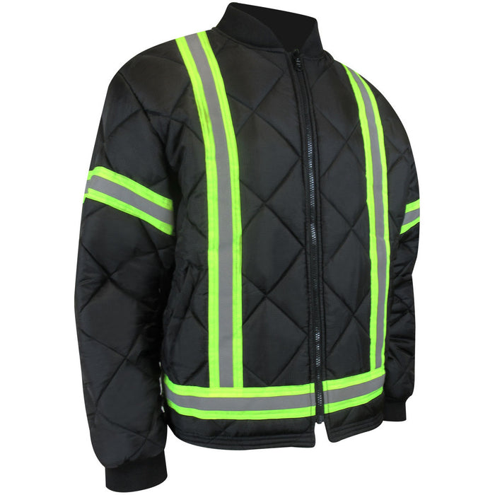 REVERSIBLE QUILTED FLEECE LINED JACKET WITH REFLECTIVE STRIPES - Black Safety Pearl