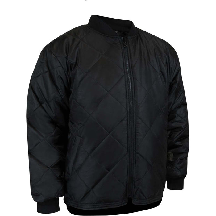 QUILTED FLEECE LINED REVERSIBLE JACKET - Black Safety Pearl
