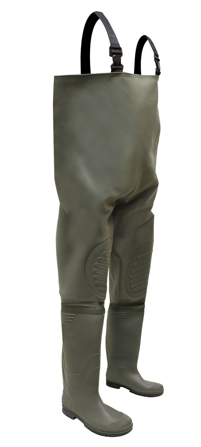 PVC/POLYESTER CHEST WADER WITH PVC/NITRILE BOOT - Black Safety Pearl
