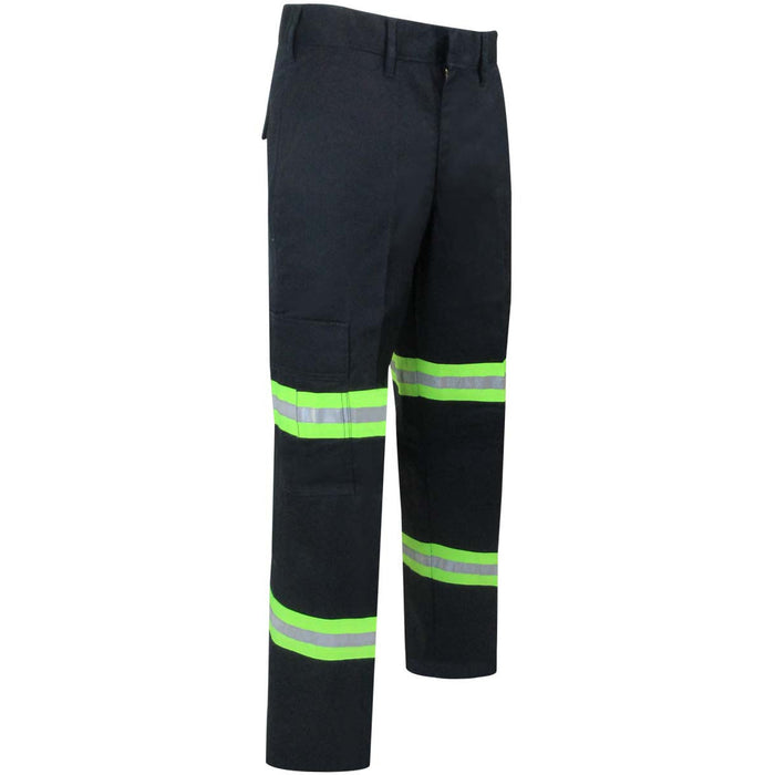 UNLINED PANTS WITH CARGO POCKETS AND REFLECTIVE STRIPES - Black Safety Pearl